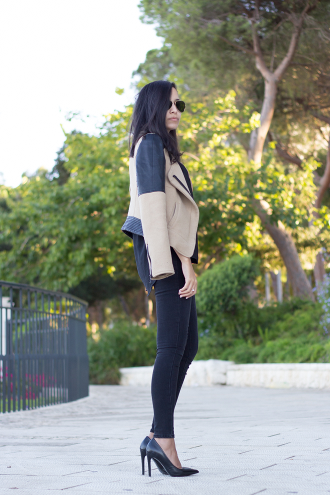 Why Delilah Blog- leather jacket, black outfit, high heels, classic, aviators