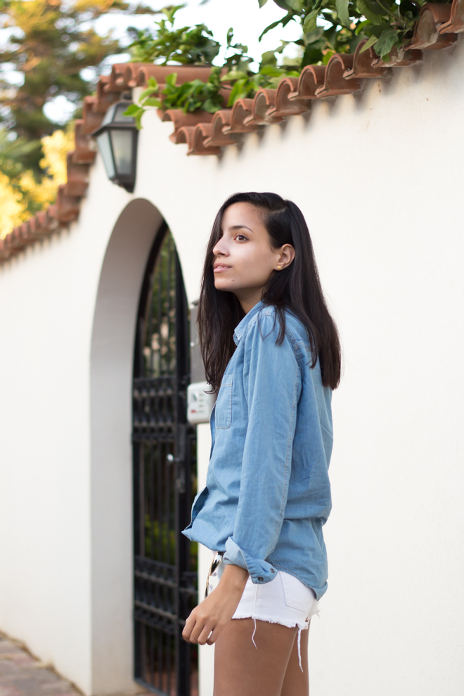 Why Delilah- Back to Basics- Denim shirt & white denim shorts, summer outfit