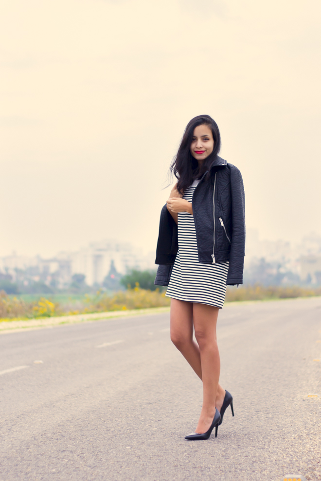 Why Delilah?- striped dress, faux leather jacket, black heels & red lipstick